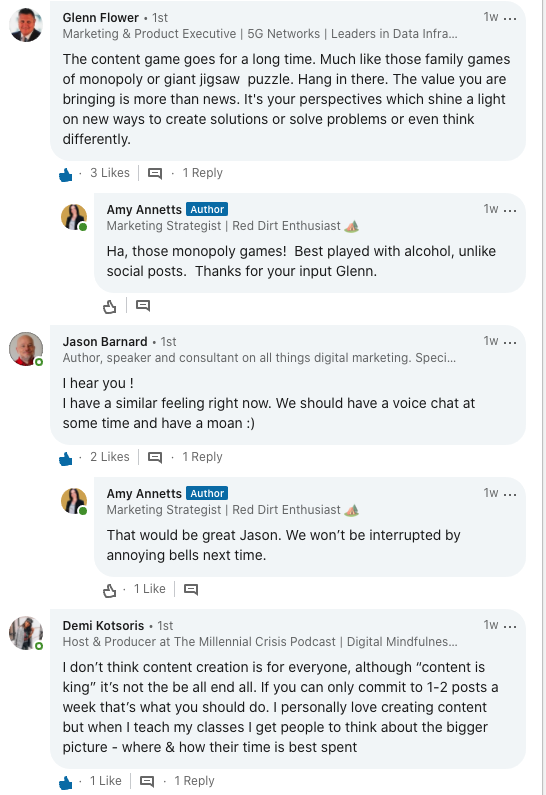 Screenshot of LinkedIn conversation