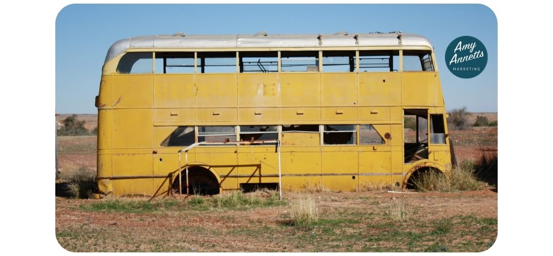 old yellow bus about to start a marketing roadtrip